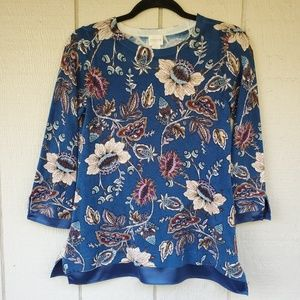 Chico's Floral Tunic sweater with satin trim Sz 0